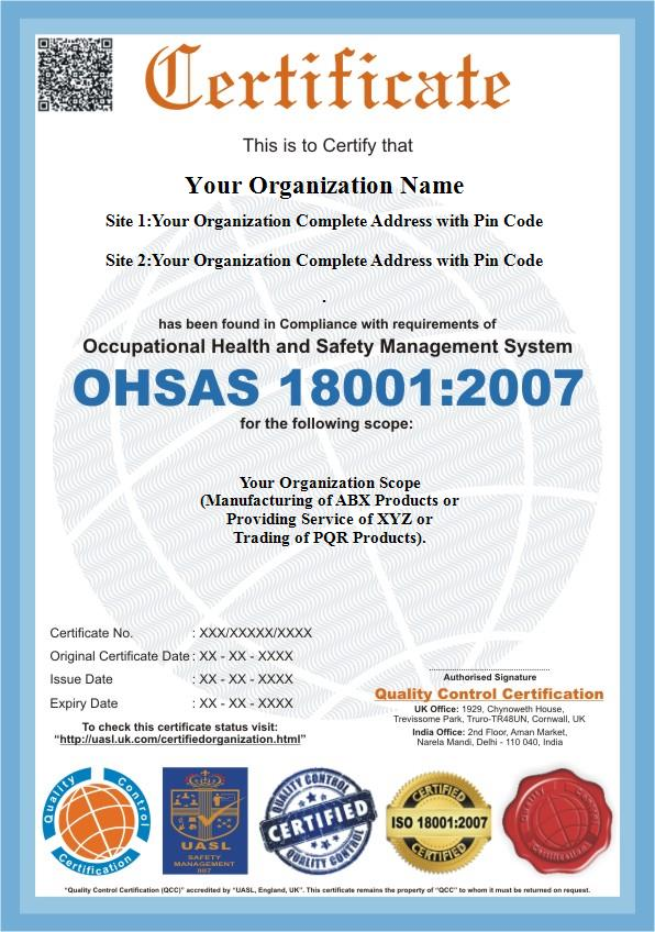OHSAS 18001:2007, OHSAS Certification - QC Certification