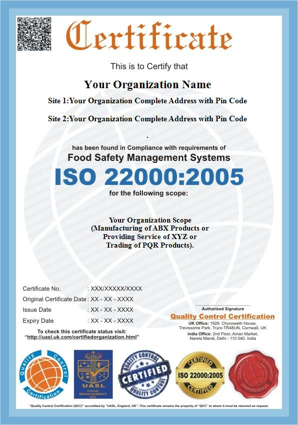 Iso 220002005 Haccp Certification Iso 22000 Certification Qc