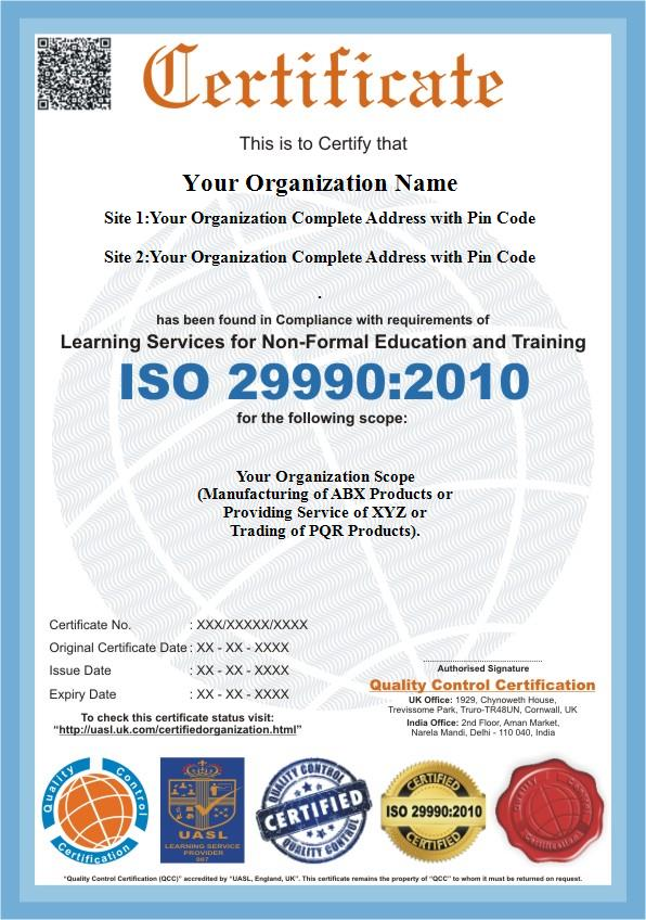 Iso 299902010 Certification Qc Certification
