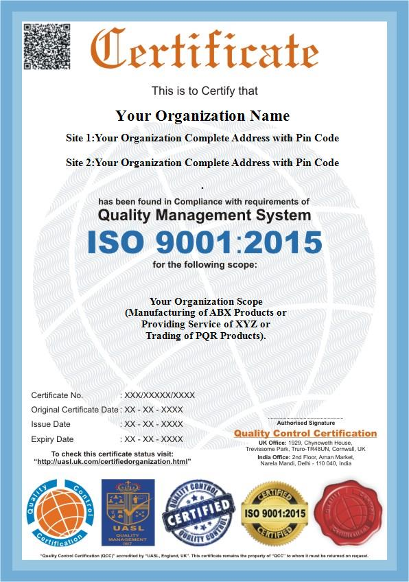 ISO 9001:2015, ISO 9001 Certification - QC Certification