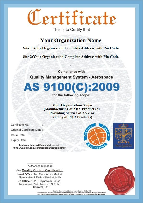As 9100 Certification Qc Certification